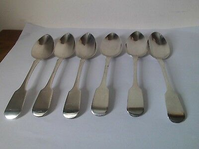 6 Solid Silver Exeter Teaspoons by William Woodman. Fiddle Pattern, 1833, 98g