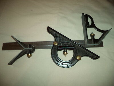 """Combination Square, 12"""" Rule, Protractor & Center Head Set, Made In England"""