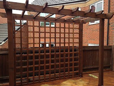 Handmade wooden garden Pergola structure 14ft x 14ft or made to measure. UK Post