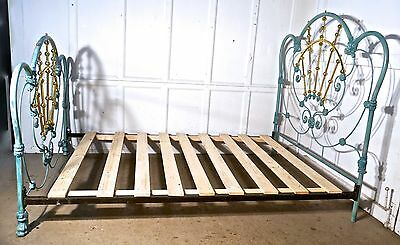 Hollywood Style Blue Enamel Iron and Brass Bed 5ft Double Bed