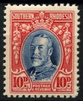 Southern Rhodesia 1931 SG#22, 10d Blue And Scarlet KGV P12 MH #D51213