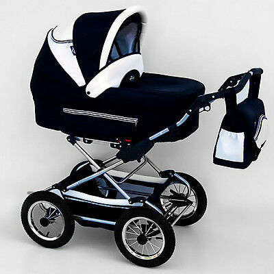 Classic Pram 04 Stroller Pushchair for Baby 2 in 1 Travel System Pumped Wheels