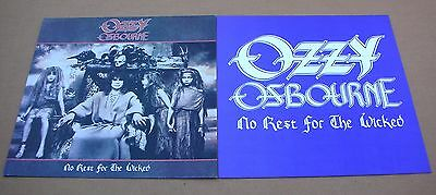 OZZY OSBOURNE No Rest For The Wicked 2 Sided Promo 12x12 Poster Flat 1988 Mint-