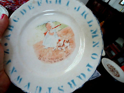 Antique Abc Plate, Liverpool, Ohio, Baby With Rifle, Dog - Very Old-Blue Letters