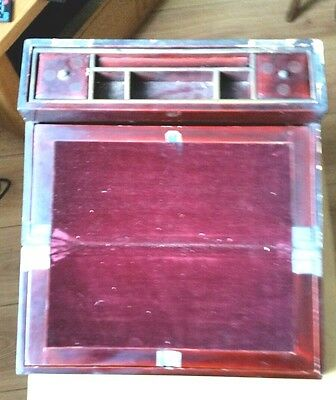 Antique Oriental Lacquer Writing Slope Box With Fitted Interior In Need Of Tlc