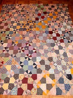 """Antique Vintage Wheel of Fortune Quilt Top for repair 66"""" x 76"""" early fabrics"""
