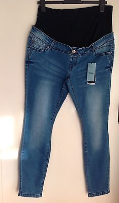 New Ladies Denim Over Bump Maternity Pregnancy Jeans Skinny Size 14 Long Tall