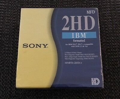 """10 Pack of Sony IBM Formatted 2HD Micro Floppy Discs - 10MFD-2HDcf 3.5"""" 1.44MB"""