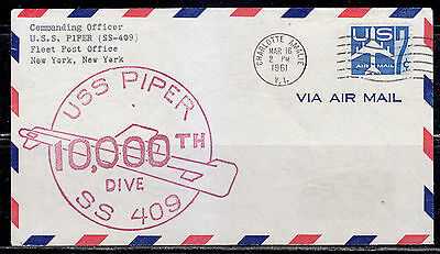 USS Piper, SS 409, 10,000 th Dive, Airmail from Charlotte Amalie, Virgin Islands
