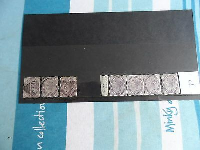 GB 4 mint and 3 used 1p IR stamps 1881