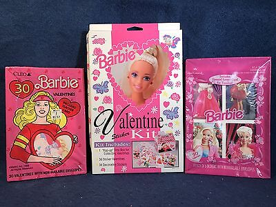 Lot of 3 Barbie Doll Valentines Cards Sets (NEW) 1988, 1992, 1996