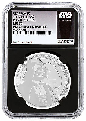 Deal! 2017 Niue Silver Star Wars Vader $2 NGC MS70 1/First 1,000 Black SKU48064