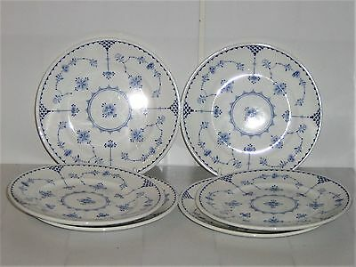6 x Vintage FURNIVALS Blue & White Denmark Small Ribbed Side Tea Cake Plates