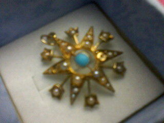 Antique 15ct Gold Art Nouveau Turquoise & Seed Pearl Star Pendant
