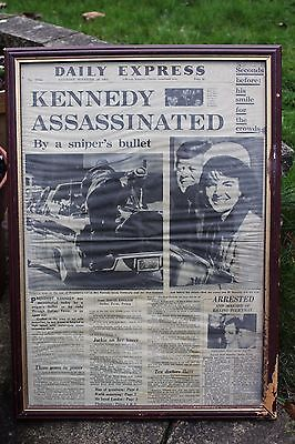 Framed Kennedy Assassination Daily Express Newspaper Front Page Headline !
