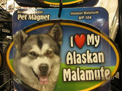 I Love My Alaskan Malamute 6 inch oval magnet for car or anything metal  New