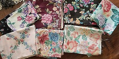 Mixed Lot of 6 Craft and Quilting Vintage Fabric Scraps Floral