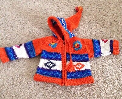 100% Wool Mexican Knit sweater Orange Blue Hooded Size 12 months