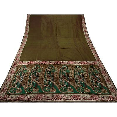 Sanskriti Antique Vintage Indian Saree Pure Silk Woven Craft Fabric Premium Sari