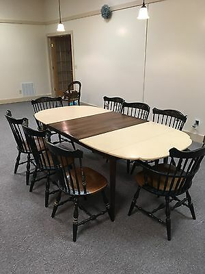 Genuine Hitchcock Dining Table, 7 1/2 feet long 8 chairs includes two captain's