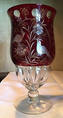 Bohemian Ruby Red Cut to Clear Art Glass Goblet Vintage Pheasants and Flowers