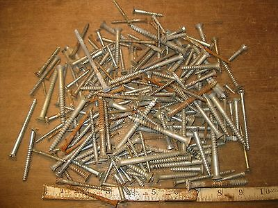 lot wood screws vintage flat head furniture woodworking fastener hardware mixed