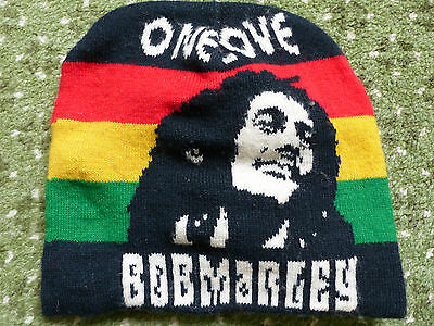 Bob Marley Woolly Hat, NEW, machine knitted with BM face, see spec.