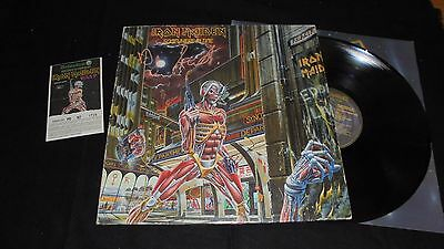 IRON MAIDEN vinyl Somewhere in time Italy press 1986 + concert ticket + signed?