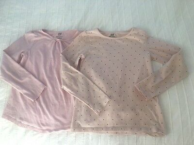 Girls H&M Long Sleeve Shirts 6-8 6 7 8 Set Of Two