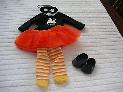 American Girl Doll Spooky Fun Outfit, Skirt,tee,tights, Shoes. Vgc/retired