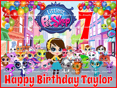 LITTLEST PET SHOP: Personalized edible image cake toppers FREE SHIPPING