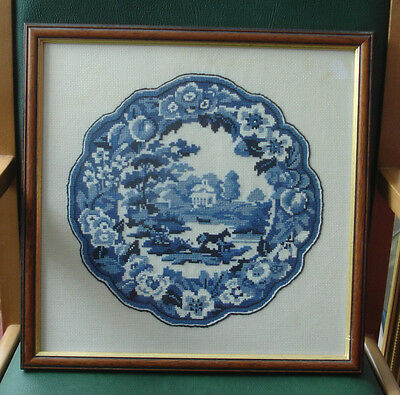 Vintage Blue & White Picture CROSS STITCH Floral/Country Scenery pattern 1970's
