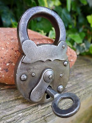 Antique Large Padlock With One Key, Working Order, Collector, Logo