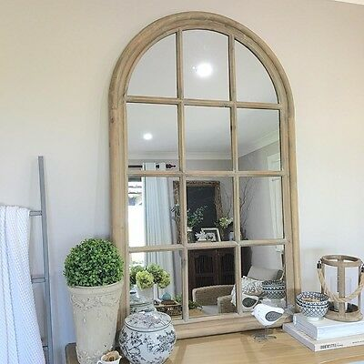 Rustic Wooden Arch Window Mirror/Vintage Window Panes/Hamptons French Provincial