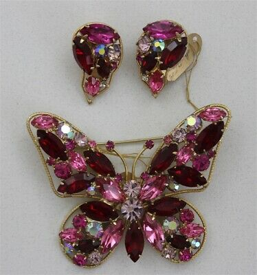 Vintage LA ROCO Signed Red & Pink Butterfly Brooch & Earrings Set Rhinestones