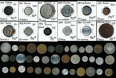 51 Old Russia Coins & A Few Finland Silvers & Coppers > Exclnt Lot  > No Rsrv