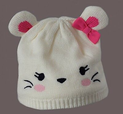 Gymboree Infant 6-12 months Sweater Knit Cap Mouse ears Pink Bow white winter