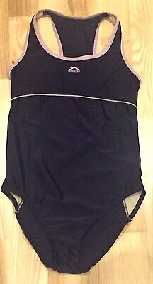 Girls SPORTS SLAZENGER swimsuit navy blue/pink 11-12 years VERY GOOD CONDITION