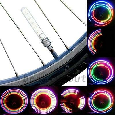 2Pcs Bicycle Motorbicycle Car Wheel Tire Valve Cap Spoke Neon 5 LED Lights Tool