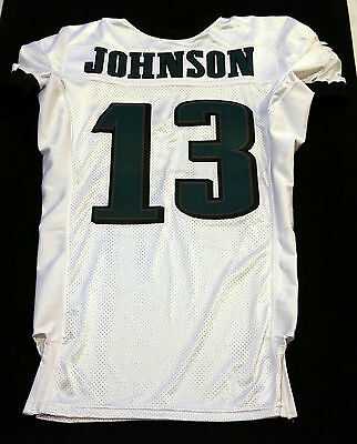 #13 Damaris Johnson Authentic Game Issued Eagles White Nike Jersey - 2013 Season