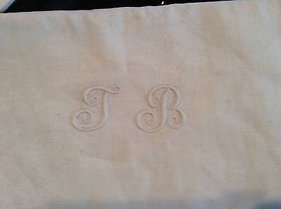 Vintage French White Linen Monogramed Tablecloth W/10 Matching Napkins