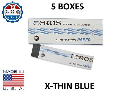 5 BOXES DENTAL ARTICULATING PAPER (EXTRA) X-THIN  BLUE  720 Sheets  MADE IN USA