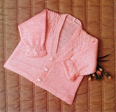 BABY Toddler Knitting Pattern copy Smocked Yoke and sleeves  4 Ply CARDIGAN