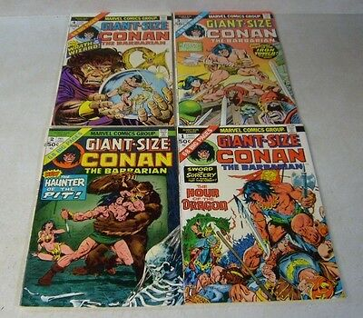 Conan Giant Size #1,2,3,4 By Crom, Kane, Sutton, Bw Smith, 1974, 272 Pages