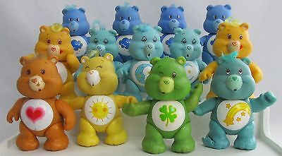 "Vintage Poseable Care Bear Lot of 13  3"" PVC Figures Good Luck Funshine Grumpy +"