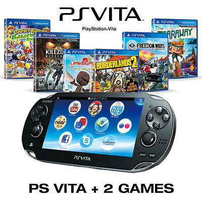 Sony Playstation Vita PS Console PSV Black + Bundled 2 x NEW Games
