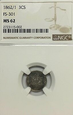 1862/1 3CS FS-301 Three Cent Silver NGC Graded MS62
