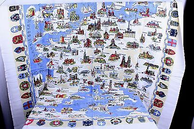 European Map Tablecloth Country Crests Around the Border Appx 48 x 52""