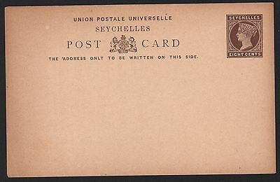 Seychelles, H&G #3 mint eight cents brown on buff postal card