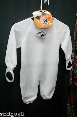 Infant WHITE kitty CAT costume- 1 pc. fleece jumpsuit- fits size 3-24 months